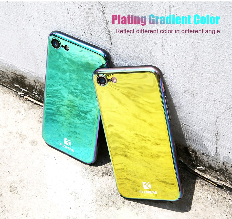 Plated Mirror Case For iPhone 7 6 iPhone 7 6 6S Plus 5 5S SE Color Glaze Phone Cover For Samsung S8 Galaxy S8 Plus  (2)