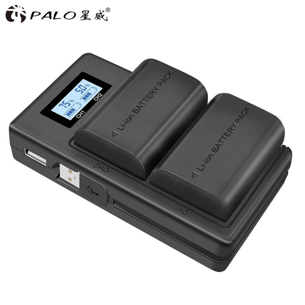 PALO 2 PCS Lp-e6 Digital Battery + LCD Display Comes With USB LP E6 Batteries Charger For Canon EOS 5D Mark IV 7D Mark II 6D 70D