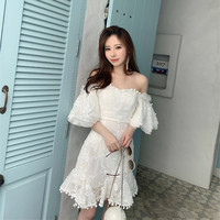 HANZANGL High Quality 2019 Brand Women Dress Summer New Embroidered Off Shoulder Ruffled Sexy Dress Casual Short Party Dresses