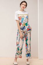 Europe and America womens pantsuits Summer Fashion print T-shirts + wide-leg pants 2pieces set A524