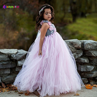 Light Pink Tulle Tutu Dress With Flowers For Girls Children Wedding Birthday Party Dress Kids Girl