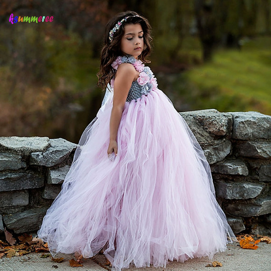 Light Pink Tulle Tutu Dress with Flowers for Girls Children Wedding Birthday Party Dress Kids Girl Ball Gown Tutus latest solid color flower girls tutu dress kids tulle dress for birthday wedding party children girl ball gown tutus