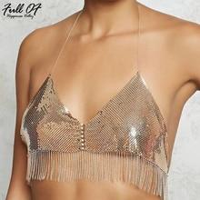 Sexy Metal Chain Tank Top Womens Sparkly Gold silver Sequins tassel Halter Club Vest women summer Beach Party Crop Tops 2018 New