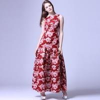 Elegant Dress 2016 New Fashion Floor Length Retro Print Flower Luxury Women Classic Red Sleeveless Luxury