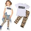 Varejo verão crianças roupa 2015 do bebê criança meninas crianças roupas de T + calças 2 PCS Set roupas 0 - 5 T Hot