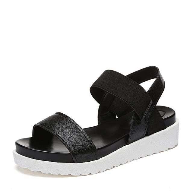 MCCKLE Women Sandals Slip On Elastic Band Female Summer Shoes Platform Roman Female Flat Sandals mujer sandalias Ladies Footwear