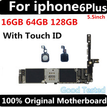 купить Factory unlocked motherboard for iphone 6 plus 16GB 64GB 128GB IOS logic board original Mainboard with touch ID for iphone 6Plus по цене 4163.82 рублей