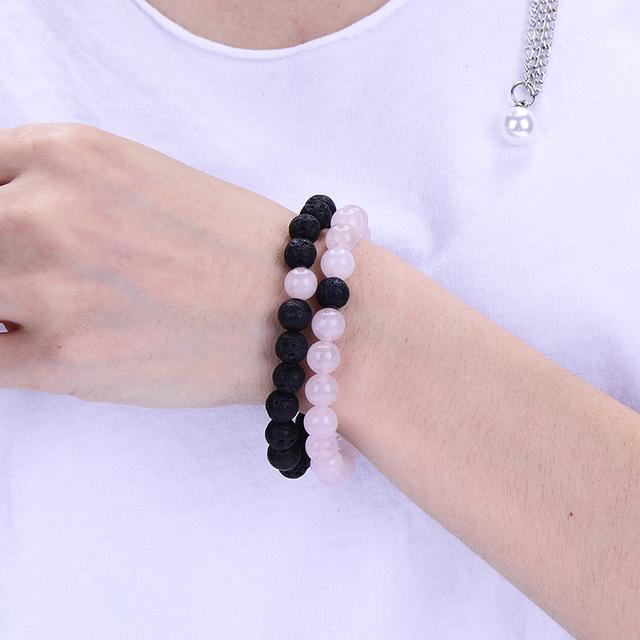 2Pcs/Set Trendy Distance Bracelet Sets Natural Stone Pink and Black Beaded Bangles