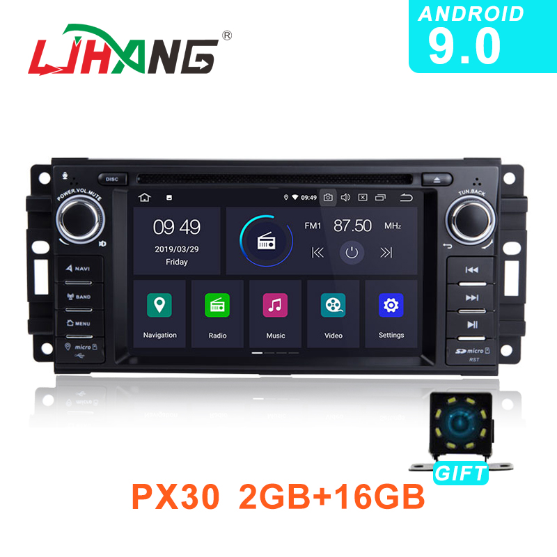 LJHANG 1 Din Car DVD Player Android 9.0 For JEEP Wrangler Compass <font><b>Grand</b></font> <font><b>Cherokee</b></font> Commander Dodge GPS WIFI Multimedia Stereo auto image
