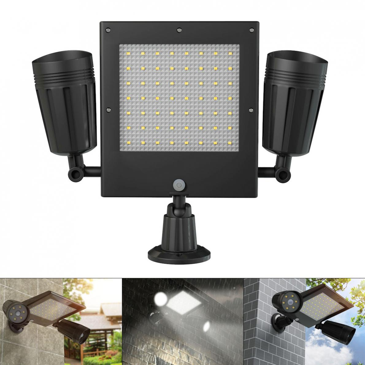 18650 3 7V 2000mAh 600LM Solar Double Spotlight 360 Degree Rotating PIR Motion Sensor Wall Light