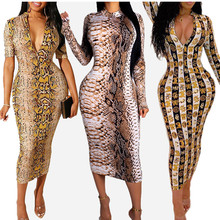 Women's Snakeskin Print Sexy Dress V-neck Long Sleeve Dresse