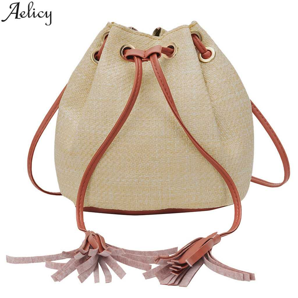 Aelicy Women's Chic Straw Bucket String Messenger Bag Lady Fashion Versatile Simple Traveling Drawstring Crossbody Bag New
