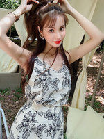 Dabuwawa 2019 New Women's Summer Sexy V Neck Shoulder Strap Printed 2 Pieces Dress Set DN1BSA012