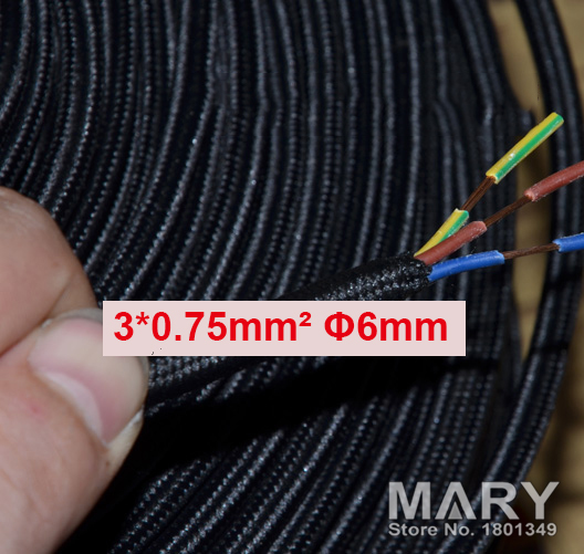 10meters black 3core 0.75mm2 Textile Electrical Wire Color Braided ...