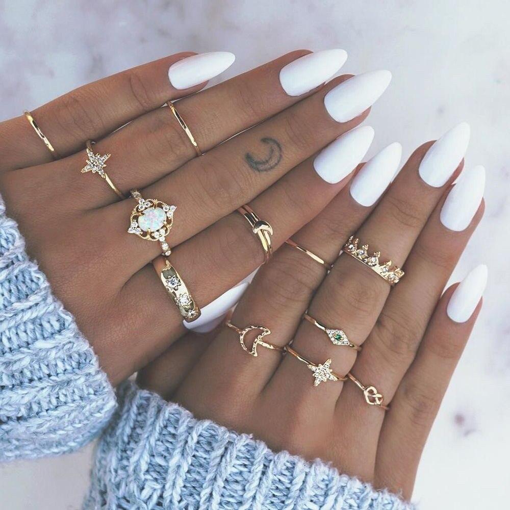 Venda quente feminino oceano estrela lua conjunta 13 peça conjunto anel de jóias retro opal coroa zircão anéis moda feminina acessórios