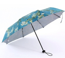 Three fold manual anti-UV umbrellas,world famous Van Gogh oil painting canvas parasol Almond tree blossom Irises starry night