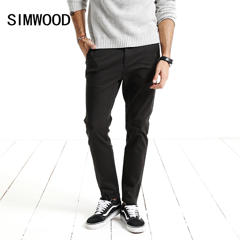 SIMWOOD Brand Pants Men 2018 Spring New Black Casual Men Pants Slim Fit Trousers Male Plus Size High Quality XC017045 2017jeans men new arrival brand clothing blue slim fit casual stretch denim pants high quality plus size free shipping