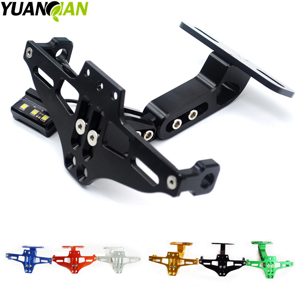 Motorcycle Adjustable Angle License Number Plate Frame Holder Bracket for yamaha KTM duke 690 Duke 390 125 rc 125 250 SMC 1190 universal motorcycle adjustable angle aluminum license number plate frame holder bracket for ktm duke 200 390 sx f exc f 85 sx