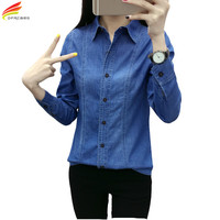 Single Breasted Long Sleeve Slim Denim Shirt 2017 Solid Blue Boyfriend Woman Shirt Turn Down