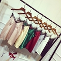 Crop Top Mujeres Una Camisa de Seda con Encaje en Britelkah 2017 Verano Estilo Coreano Cómodo Arnés de Seda Costura de Encaje Camis