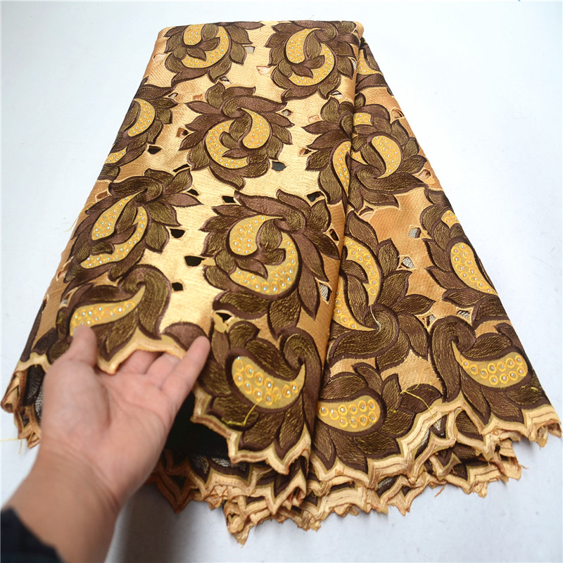 Luxury Nigerian African Lace Fabrics High Quality For Men&Women Cotton Dry Lace Fabric Swiss Voile Lace In Switzerland PSA674-3