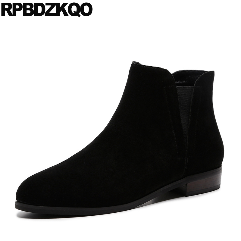 British Black Ladies Comfortable Ankle Women Boots Winter 2017 Flat Fashion Slip On Suede Round Toe Booties Chelsea Low Heel farvarwo formal retro buckle chelsea boots mens genuine leather flat round toe ankle slip on boot black kanye west winter shoes