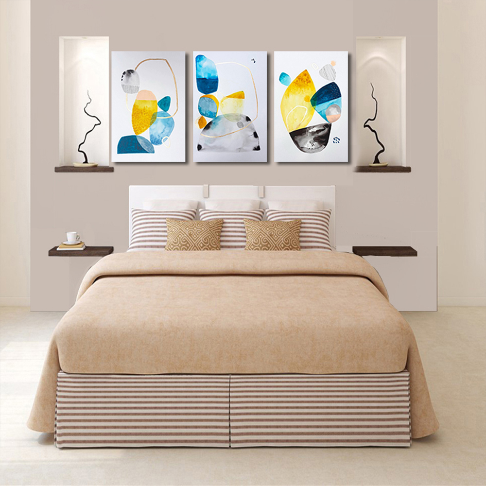 Unframed 3 HD Watercolor Abstract Canvas Painting Color Block Decorative Painting Giclee Wall Decor For Living Room Bedroom