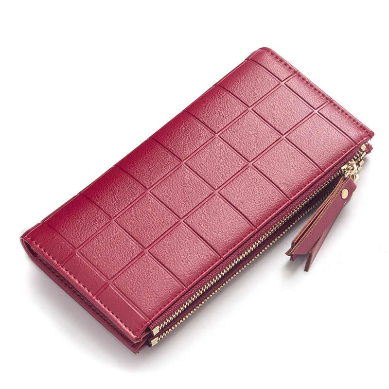 Plaid Women Wallets Purse Female New Arrival double zipper Women's Leather Wallets Ladies Clutch Phone Bag Carteira Feminina