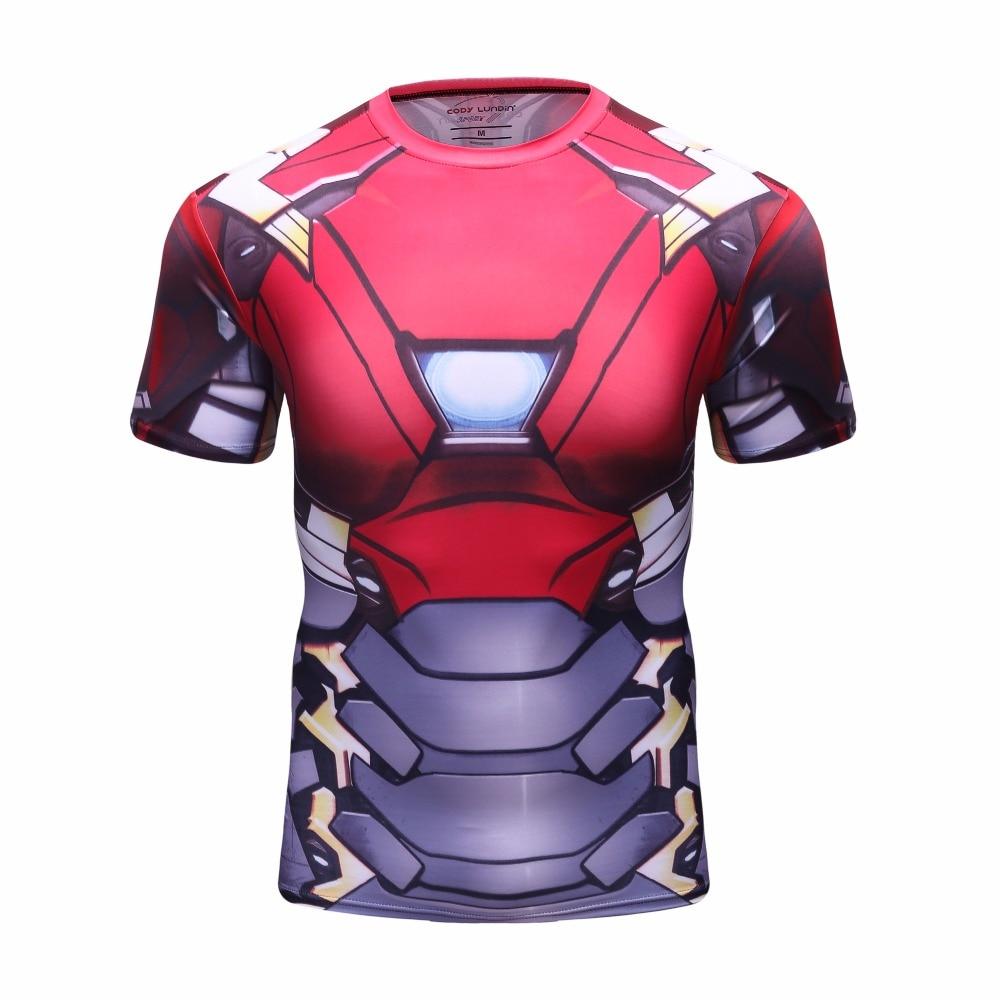a7c311942b Homem de ferro 3D Impresso Compressão Camisas Magros T Camisetas Mangas  Curtas Cosplay Traje de Fitness Musculação Crossfit Encabeça Homens
