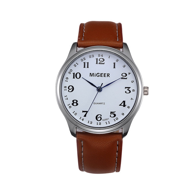 Men's Stainless Steel Leather Band Wrist Watch
