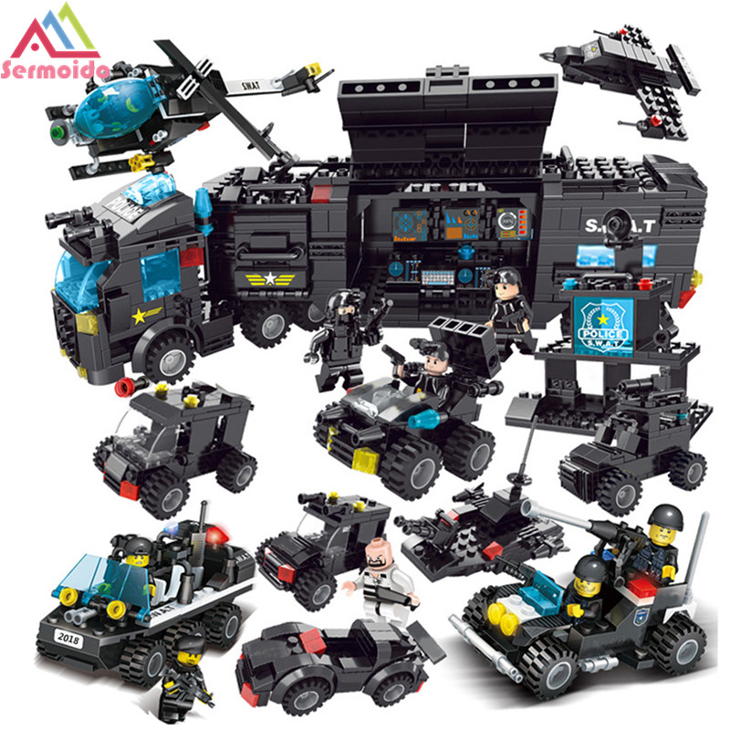 sermoido 8 IN 1 677PCS Building Blocks SWAT Team Army Police Compatible Legoed SWAT City Police Gift Toys for Children DBP229 military city police swat team army soldiers with weapons ww2 building blocks toys for children gift
