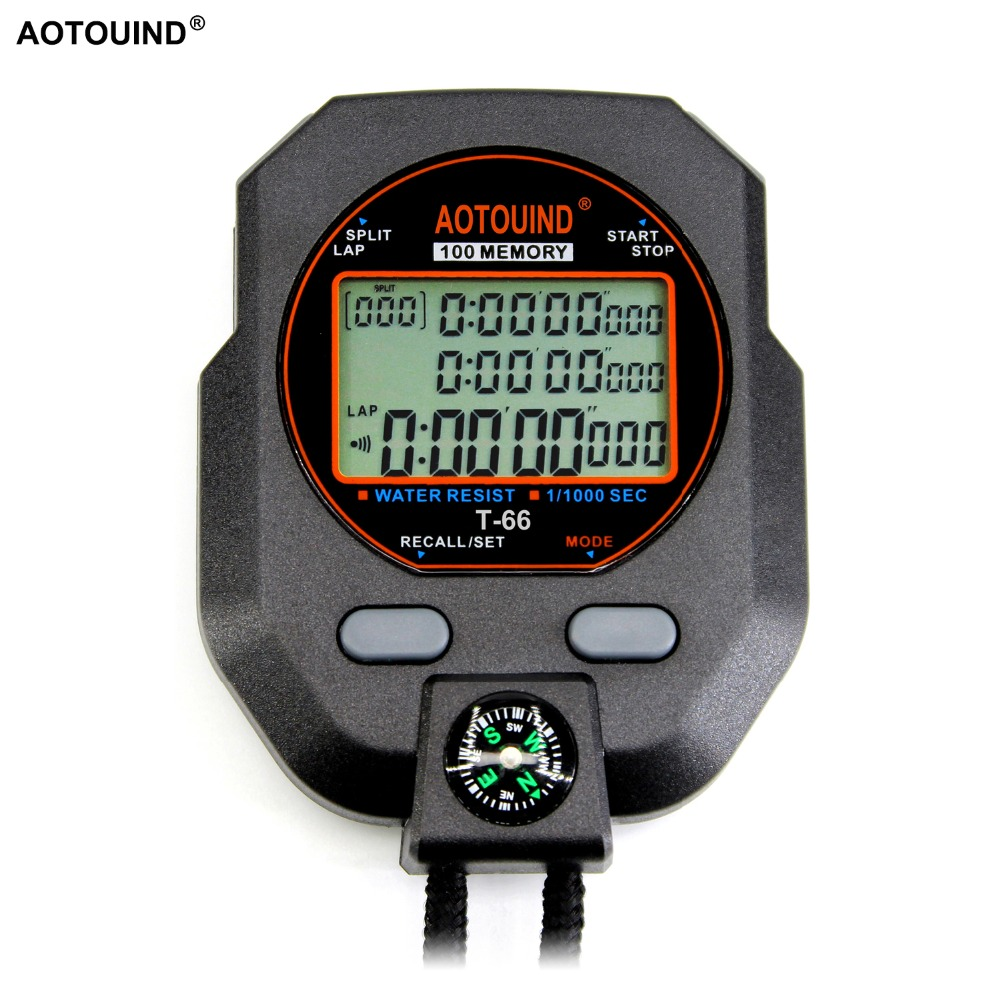 US $13 0 55% OFF|AOTOUIND the Best Grade Professional Stopwatch with 3 Rows  100 Laps Accuracy 0 001 Seconds Handheld Sports Stopwatch-in Timers from