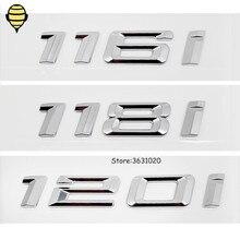 Silber Auto Styling für BMW 1 Serie 3D Aufkleber Auto Stamm Deckel Hinten Emblem Aufkleber Abzeichen für BMW 120i 118i 116i GT F10 F11 X1 E93