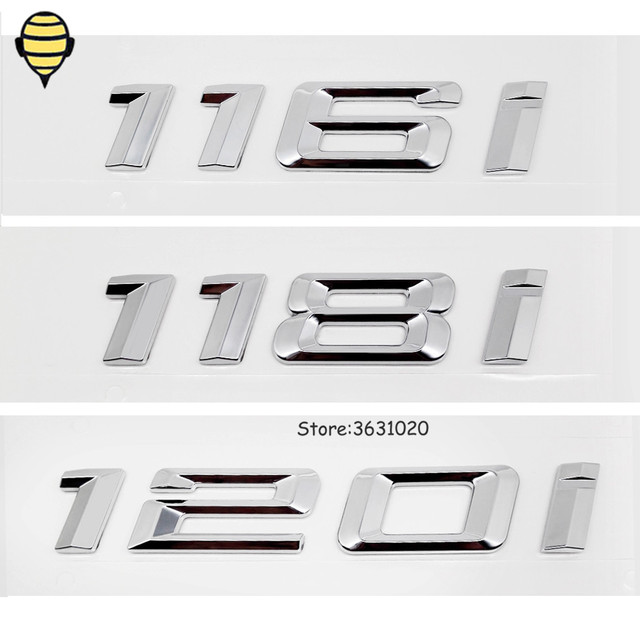 Silver Car Styling for BMW 1 Series 3D Sticker Auto Trunk Lid Rear Emblem Decal Badge for BMW 120i 118i 116i GT F10 F11 X1 E93