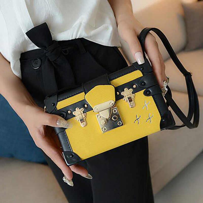 New Lady Evening Bag Fashion Black Messenger Bag Design Women Leather  Handbag Patchwork Hard Box Retro e9f4bc1ce8a8d