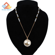 New Fashion Hanging Trendy Necklace 30 MM Imitation Pearl Long Sweater Chain Pearls Jewelry Sticks Jewelry Brand