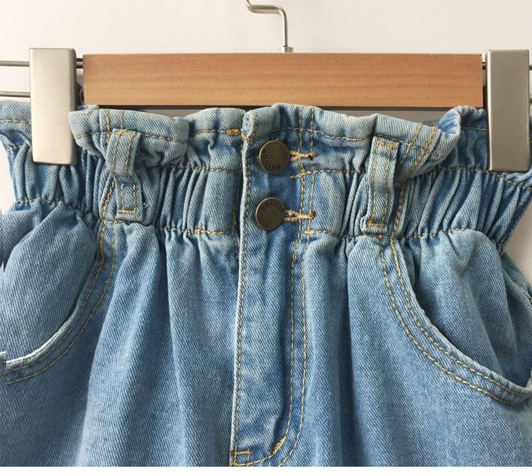 Roll Up Hem Elastic Waist Pocket Blue White Jeans Female 32