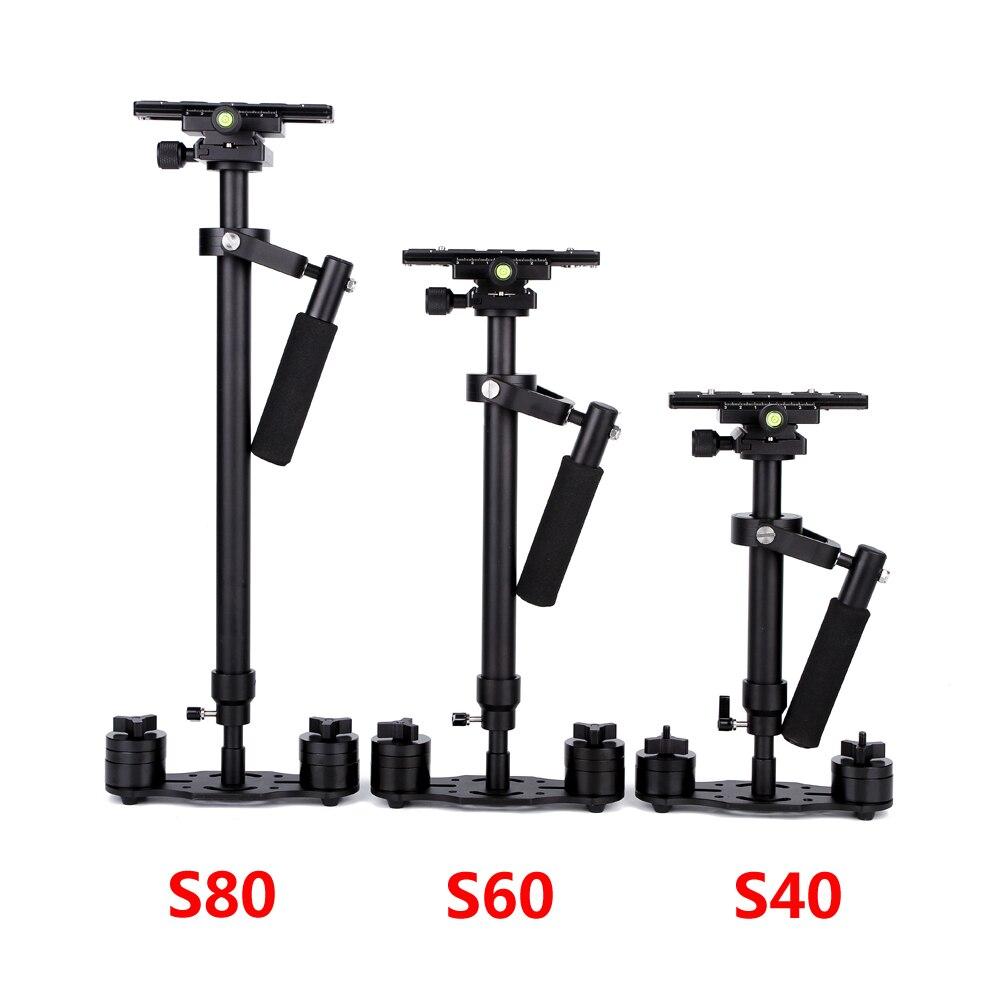 S40/S60/S80 Steadycam 40 CM/60 CM/80 CM Handheld Estabilizador Steadicam + Transporte de Alumínio saco para DSLR Câmera de Vídeo Fotografia