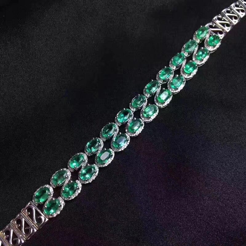 100% Natural Colômbia esmeralda pulseira 24 pcs SI grau pulseira de esmeralda para o casamento 925 jóias de prata esterlina esmeralda - 5
