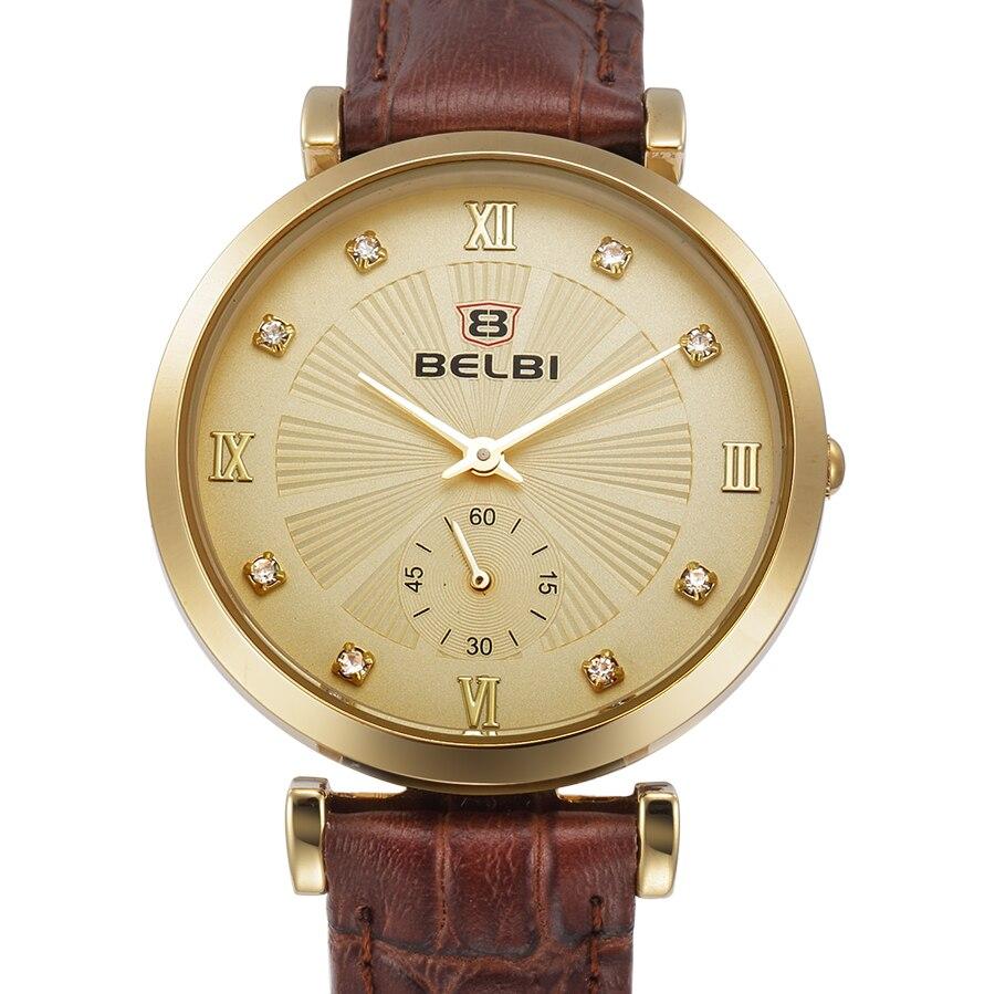 Prix pour Belbi mode Marque de montre femmes montres dames montres top marque de luxe montres femmes montre femme montre à quartz en cuir