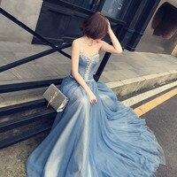 Новая модная Милая суд Поезд длинное голубое платье Бисер Кристалл Line женщина длинное платье Элегантные Вечерние Тюль кафтан платье