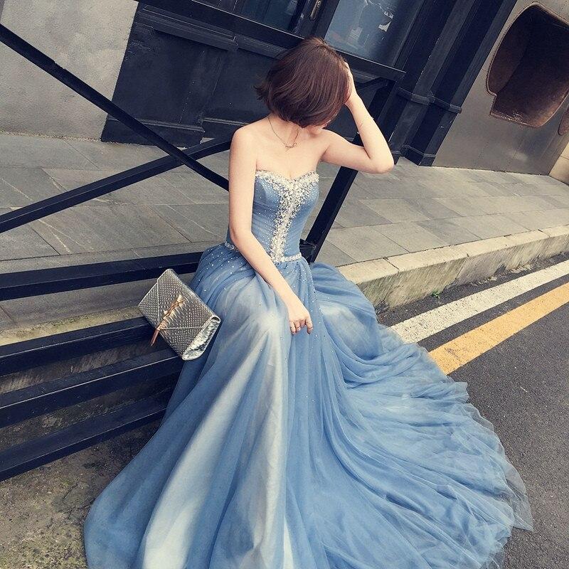 Moda noua Sweetheart Curtea Cursa lunga albastru Rochie Beading - Rochie pentru ocazii speciale