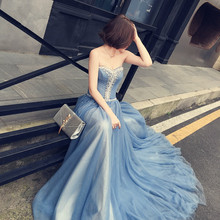 New Fashion Sweetheart Court Train Long Blue Dress Beading And Crystal A-Line Woman Elegant Evening Tull Caftan