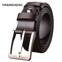 New Fashion Design Cowskin Belt Stainless Steel Pin Buckle Top Layer Leather 100 Genuine Leather Luxury