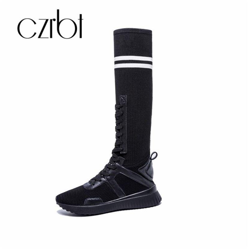 Haute Coréenne Automne Chaussures Respirant Bottes Noir 2018 Explosions De Version Femelle Czrbt blanc Élastiques Chaussettes mnON0w8v