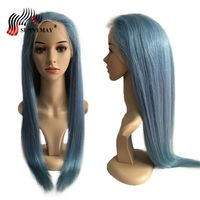 Sunnymay Light Blue Full Lace Human Hair Wigs Straight Brazilian Virgin Hair Pre Plucked Transparent Lace Wigs With Baby Hair