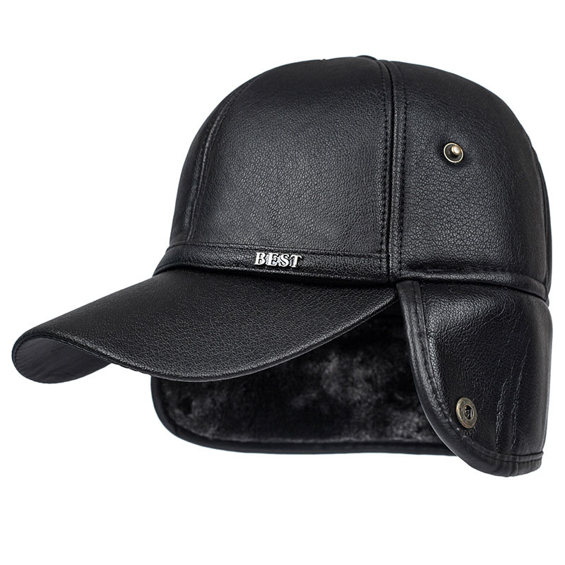 09e9b2a84b6 Fibonacci High quality men s winter hat warm ear protection plus velvet  thick middle aged elderly leather baseball cap. 11 2 ...