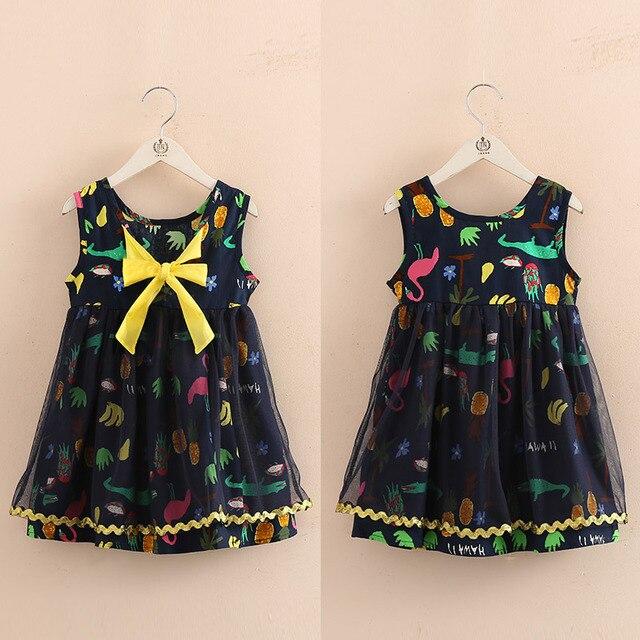 414672b194100 2018 Yeni Moda Yaz Kız Elbise Karikatür Desen Kız Elbise Sevimli Yay  vestidos Çocuk Giyim Çocuk