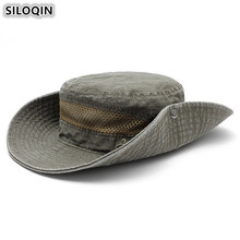 SILOQIN Adult Mens Flat Cap Cotton Bucket Hats 2019 New Summer Mesh breathable Visor For Men Wind Rope Fixed Fishing Caps