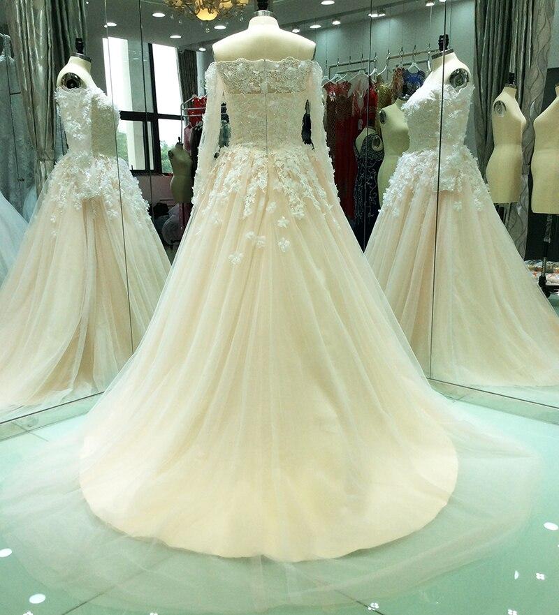 Champagne Wedding Dresses Vintage Lace Long Sleeves Off Shoulder ...